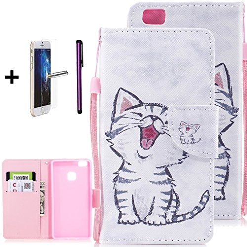Huawei P9 Lite Case, P9 Mini Case, ISADENSER PU Leather Floral Printed Folio Flip Protective Case Cover with Card Cash Slots [Kickstand] for Huawei P9 Lite/P9 Mini, Smile Cartoon Cat
