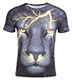 Funny Unisex 3D Digital Printed Shirts Fashion Animal Graphic Tee Shirts Couple Hipster Tops Black Lion 3XL