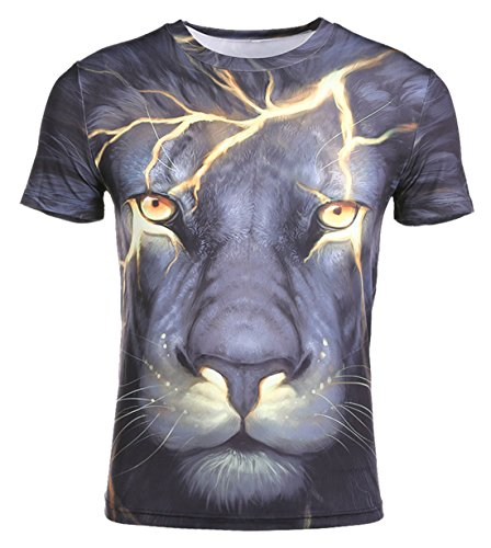 Funny Unisex 3D Digital Printed Shirts Fashion Animal Graphic Tee Shirts Couple Hipster Tops Black Lion 3XL by AIEOE