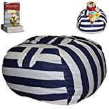 EUROPEAN MADE Lab Tested Large Stuffed Animal Storage Bean Bag Cover | The Ultimate Storage Solution To Clean Up & Organize Kid's Room | Free E-Book (Blue-Black/White)