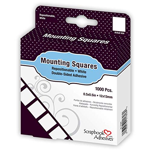 3L Repositionable Permanent Mounting Squares, 1/2-Inch x 1/2-Inch, 1000pk, White