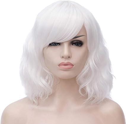 HongHu Fashion 15.74 Pulgadas / 40cm Flequillo Corto Ondulado Peluca Rizada Anime Cosplay Pelucas de Fiesta de Pelo Completo o Peluca de Uso Diario Blanca: Amazon.es: Belleza