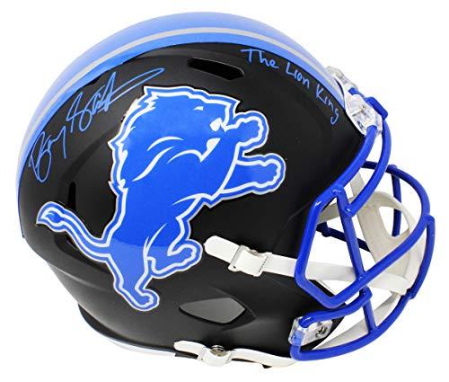 Barry Sanders Signed Detroit Lions Flat Black Matte Riddell Speed Full Size Replica Helmet w/The Lion King Barry Sanders Signed Lions Replica