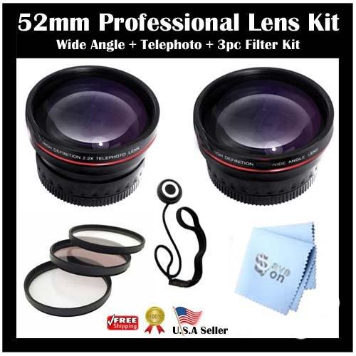 SAVEoN Lens Kit For Panasonic DMC-FZ200 DMC-G5 DMC-GH3, DMC-GH3K Digital Camera Includes HD Wide Angle lens w/ Macro + HD 2X Telephoto Lens + Multi-Coated 3pc Filter Kit (UV-CPL-FLD) + Lens Cap Keeper + SAVEoN MicroFiber Cleaning Cloth by Panasonic