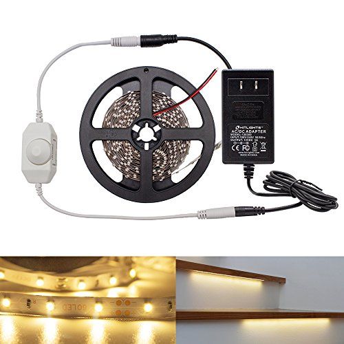 HitLights Warm White LED Light Strip Kit, 16.4 Feet - Includes Power Supply and Dimmer. 300 LEDs, 3000K, 72 Lumens per Foot. 12V DC