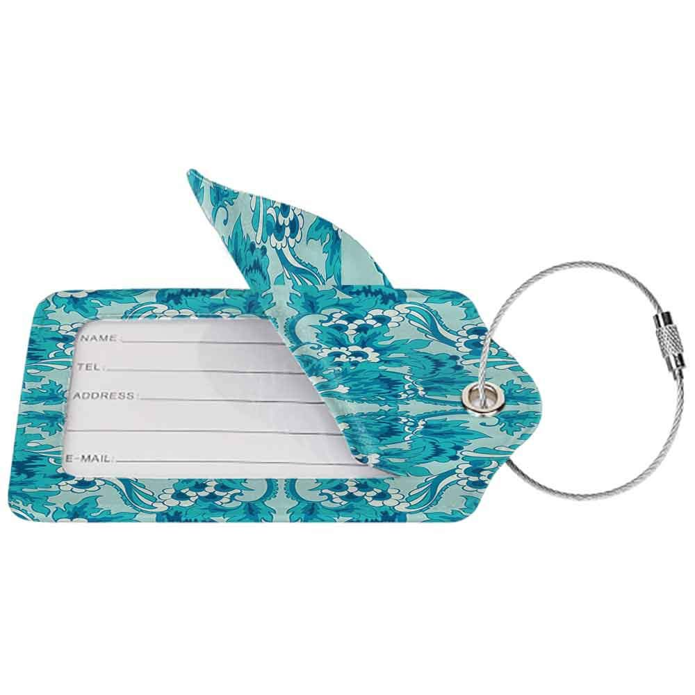 Flexible luggage tag Turquoise Decor Collection Flower Pattern Symmetric Sntique Floral Design Ornaments Stylized Art Fashion match Deep Sky Blue White W2.7 x L4.6