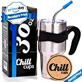 Insulated Travel Coffee Thermal Mug - 30 oz Double Wall Vacuum Drinking Stainless Steel Tumbler Cup with Spill Proof Lid, Handle and 8mm Straw - Silicone Tip - Free Bonus Coaster by Chill Cups