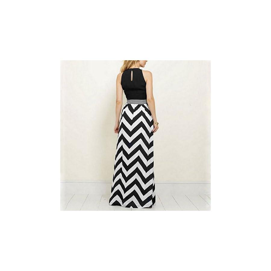 SCASTOE Women Summer Sleeveless Maxi Dress Boho Wave Striped Beach Evening Party Slim Dress