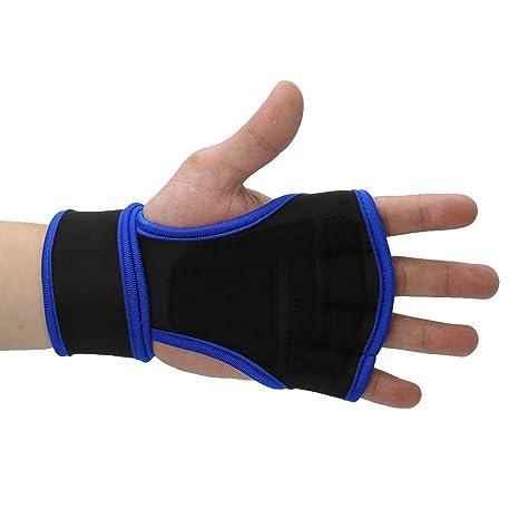 Levantamiento de pesas, soporte para la muñeca, gimnasio, gimnasio, correas para manos, medio dedo, protector de la palma, guantes deportivos(Rose Red ...