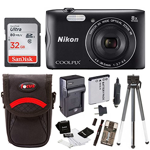 Nikon Coolpix A300 Wi-Fi Digital Camera (Black) with 32GB Card + Case + Accessory Kit by Focus Camera