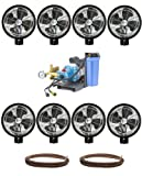 Kit of (8) HIGH PRESSURE - 18'' Oscillating (Wall Mount) Mist Fans, Pump and Tubing