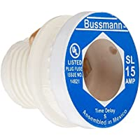 Bussmann BP/SL-15 15 Amp Time Delay Loaded Link Rejection Base Plug Fuse, 125V UL Listed Carded, by Bussmann