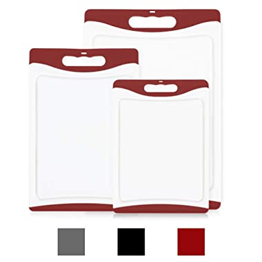 GripMAX Premium Durable Kitchen Cutting Board Set of 3, BPA Free, Dishwasher Safe, Large and Thick Plastic Chopping Mat Boards, Easy-Grip Rubber Handle, Non-Porous, Juice Grooves, 3 Piece Set, Red