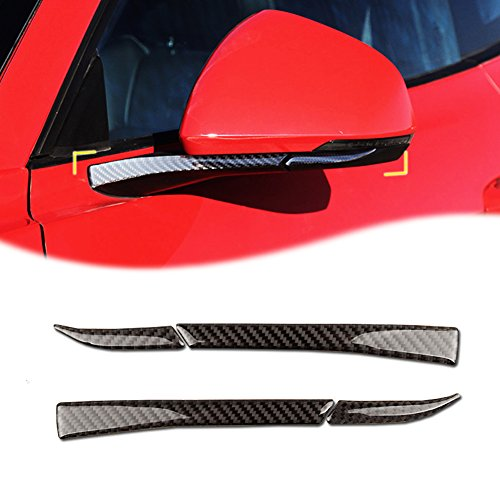 GTINTHEBOX 4pcs Real Carbon Fiber Side Rearview Rear View Mirror Covers Trim For Ford Mustang 2015 2016 2017 2018 ()