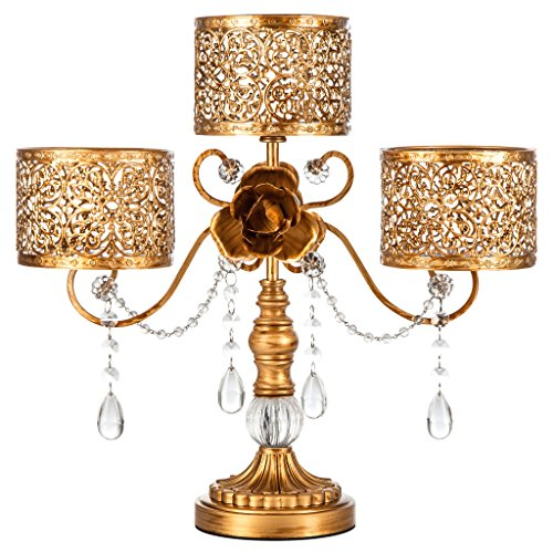 Amalfi Décor Victoria Antique Gold Metal 3 Pillar Candle Holder, Wedding Table Hurricane Centerpiece Crystal Draped Accent Stand (Baroque Candlestick)