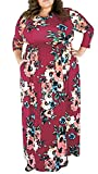 Delcoce Maxi Dresses for Women Plus Size with Pockets Floral Print Flowy Full Length 2XL Wine Red