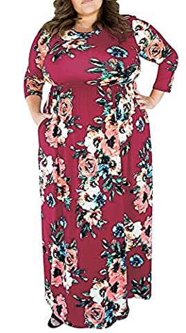 Red Wine Maxi Dress Plus Size For Women Party Wedding Floral Print 3/4 Sleeve 3X