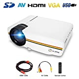 Portable Projector with HDMI Cable, ULBRE MultiMedia Home Cinema 1080P 1200 Lumens 130