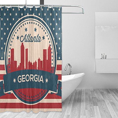 Vintage American Flag Georgia State Atlanta Skyline Shower C