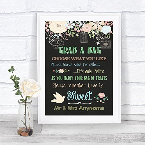 Candy Hearts Personalized Banner - Shabby Chic Pretty Chalkboard Style Love Is Sweet Candy Buffet Personalized Wedding Sign