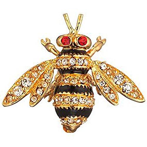 MMA Bee Brooch Pin Faux Diamonds, Faux Rubies & Black Enamel Costume Jewelry