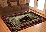 Cheap Rug Empire Rustic Lodge Bear Cubs Area Rug, Red