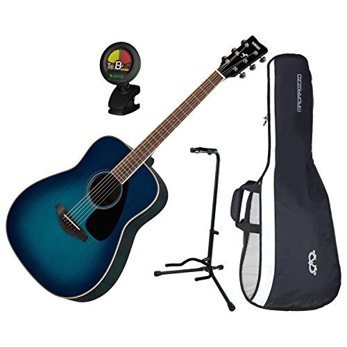 Yamaha FG820SB Solid Sitka Spruce Top Folk Acoustic Guitar Sunset Blue w/ Gig Bag, Stand, and Tuner ()