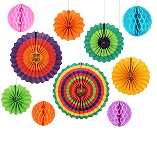 Paper Decorations GoFriend 10Pcs Colorful Fiesta Paper Fans Tissue Paper Honeycomb Balls Hanging Decoration for Birthday Wedding Carnival Baby Shower Home Party Supplies Favors Rainbow Color