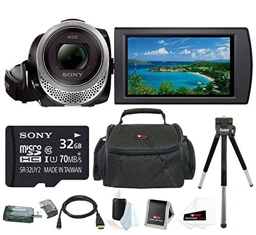 Sony HDR-CX455 Handycam Full HD 1080p Camcorder w/ 32GB Micro SD Card & Accessory Bundle