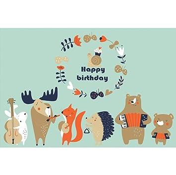 OERJU 2,7x1,8m Feliz cumpleaños Fondo Dibujos Animados de ...
