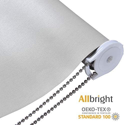 ALLBRIGHT 100% Blackout Cloth Veined Roller Shades Blinds Thermal Insulated UV Protection Energy-Saving Waterproof Vinyl Blinds for Bedroom, Beige, 38″ W x 72″ H