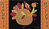 Toland Home Garden Turkey Pilgrim 18 x 30 Inch Decorative Thanksgiving Floor Mat Cute Gobble Doormat