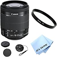 Canon EF-S 18-55mm f/3.5-5.6 IS STM lens Bundle Kit (White Box) With + High Definition UV Filter + Al's Variety Premium Cleaning Cloth + Great Value Bundle