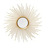 Adeco Home Collection Sunburst Mirror, Classic Metal Decorative Wall Mirror - 25.7 x 25.7 Inches