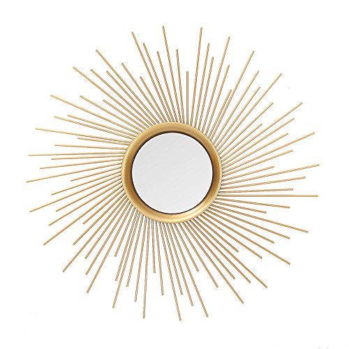 Adeco Home Collection Sunburst Mirror, Classic Metal Decorative Wall Mirror - 25.7 x 25.7 Inches by Adeco