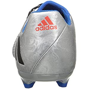 adidas Performance Kids' Messi 16.3 Firm Ground Soccer Shoe (Little Kid/Big Kid), Silver Metallic/Black/Shock Blue, 5.5 M US Big Kid