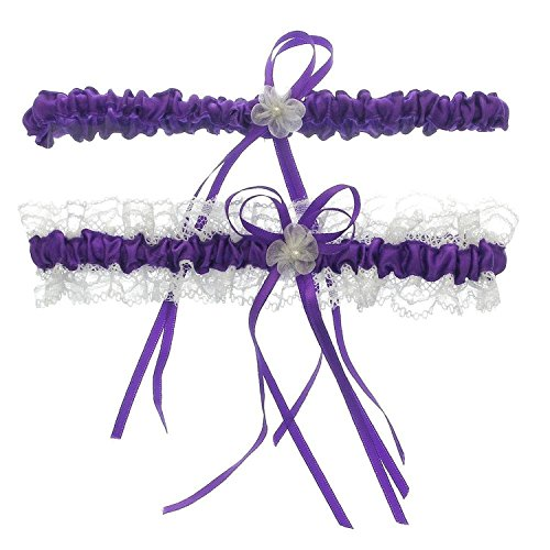 Merya Dress Lace Wedding Garters for Bride Pearl Stretch Prom Garter with Toss Away Purple