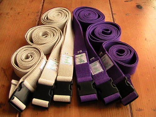 All Cotton Side Release Buckle Yoga Strap 10 Foot Purple