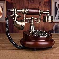 Old fashioned telephone European antique solid wood phone Creative home fixed telephone Classical landline-A