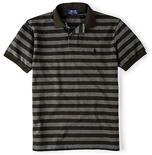 Polo Ralph Lauren Men's Classic-Fit Striped Mesh Polo Shirt Shirt Tee, XS, Black Coal