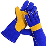 QeeLink Leather Fireplace Gloves, Heat resistant - Perfect for Gardening/Oven/Grill/Mig/Fireplace/Stove/Pot Holder/Tig Welding/Animal Handling/BBQ, Blue (16 inches, Blue)