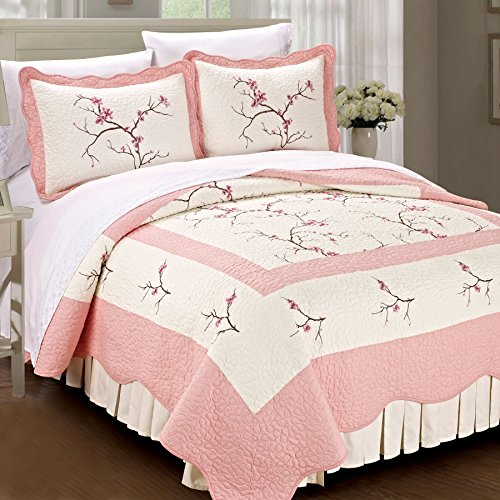 Serenta Classic Embroidery Prewashed Microfiber Cotton Filled Bedspread Quilt 3 Piece Bed Set, King, Pink Cherry Blossom