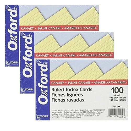 Oxford Colored Ruled Index Cards Canary 100/ pack (4''x6'') (3 Pack) by Oxford