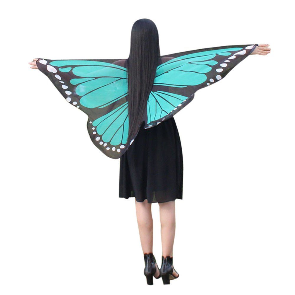 NUWFOR Christmas Womens, Soft Fabric Butterfly Wings Shawl Fairy Ladies Nymph Pixie Costume Accessory?D-Green?One Size?