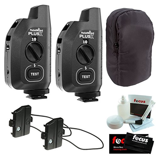 PocketWizard Plus X Radio Trigger with 10 Channels (Set of 2) + Hildozine Transceiver Caddy V3 (Set of 2) + Carrying Case by PocketWizard