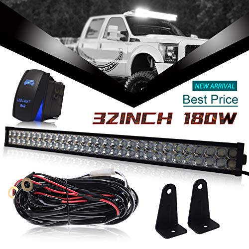 "DOT 32"" Inch 180W Led Light Bar Combo Grill Windshield Bumper Light Bar + 1x Rocker Switch + 1x Wiring Harness for ATV Truck Jeep Wrangler Dodge Chevy RV Ford F250 F350 Toyota Polaris RZR Golf Cart"