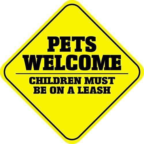 Liz66Ward Pets Welcome Children Must Be On A Leash Aluminum Corssing Sign Caution Signs Funny Metal Animal Crossing Wall Art Decor 12x12 Novelty Gifts -