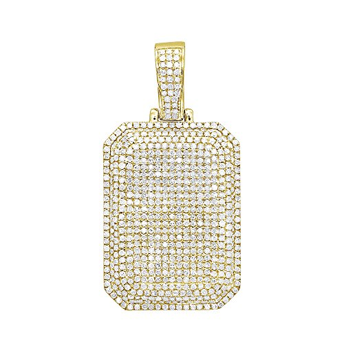 (10K Rose, White or Yellow Gold Small Diamond Fully Iced Out Dog Tag Pendant 1.75ctw (Yellow Gold))