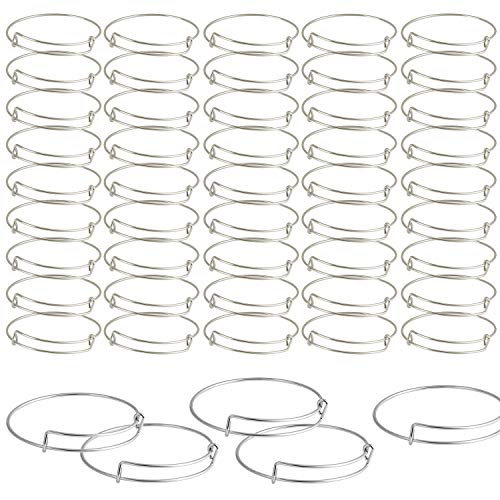 SAYAYA 50 Pieces Expandable Bangle Blank Bangle Bracelets Adjustable Bracelets for Jewelry Making (Silver)