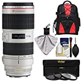 Canon EF 70-200mm f/2.8 L IS II USM Zoom Lens with Backpack + 3 Filters + Kit for EOS 6D, 70D, 7D, 5DS, 5D Mark II III, Rebel T5, T5i, T6i, T6s